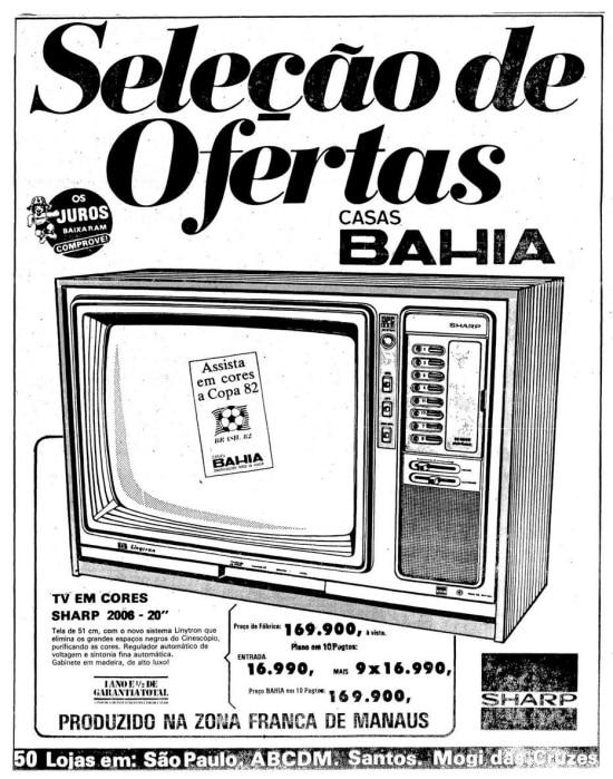 Anúncio deTV Sharp nas Casas Bahiano Estadão de 27/6/1982