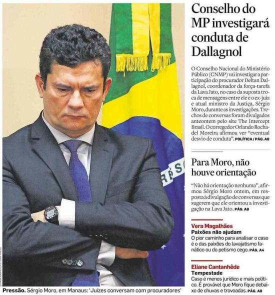 Sérgio Moro nojornal de 11/6/2019