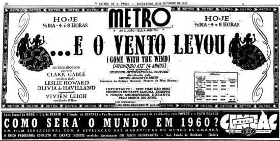 Cartaz de lançamento de 'O Vento Levou' nojornal de 20/9/1940