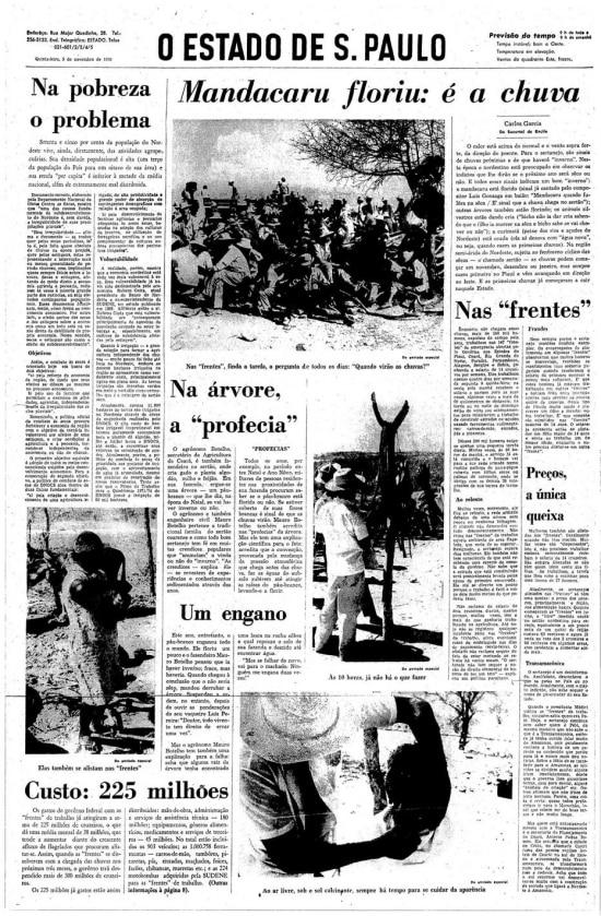 Mandacaru floriu: é chuva.Estadão 5/11/1970.