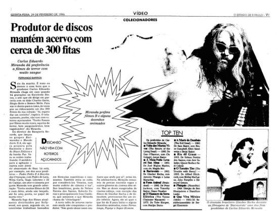 Produtor musical Miranda fala sobre sua coleções de filme b e desenhos em 1996.
