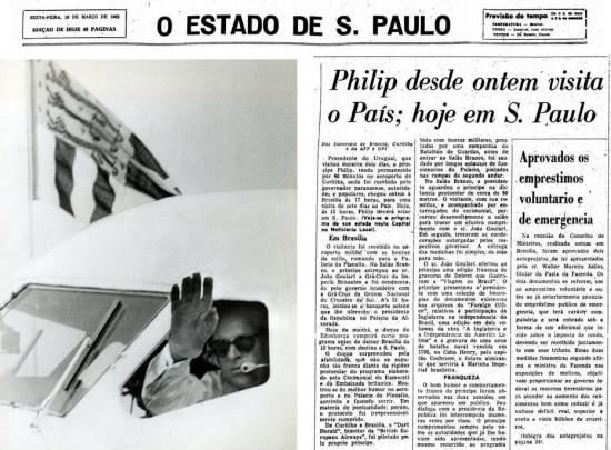 Pilotando o bimotor Dart Herald, príncipe Philip deixa São Paulo18/3/1962.  > Estadão - 16/3/1962