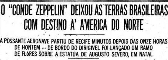 Gref Zeppelin no jornal de 29/5/1930