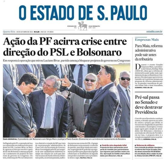 Sérgio Moro na mira de Bolsonaro emfoto de Gabriela Biló de 15/10/2019