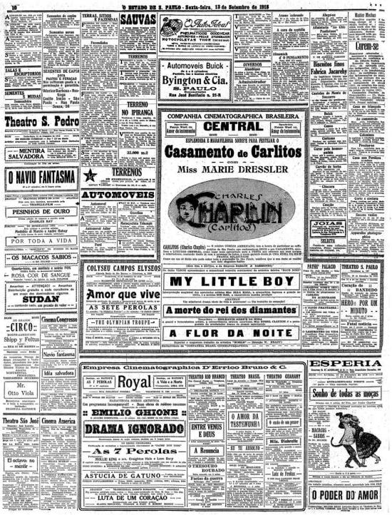 Sessão de cultura do Estadão de 13/9/1918