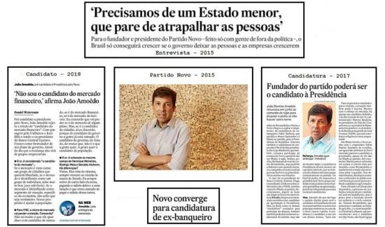 A história do candidato João Amôedo naspáginas do jornal