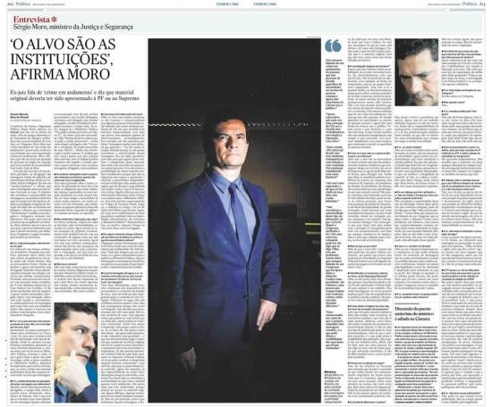 Sérgio Moro nojornal de 14/6/2019
