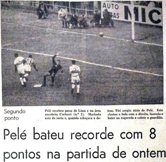 Umdos8 gols de Peléno 11 a 0 do Santos sobre Botafogo de Ribeirão Preto