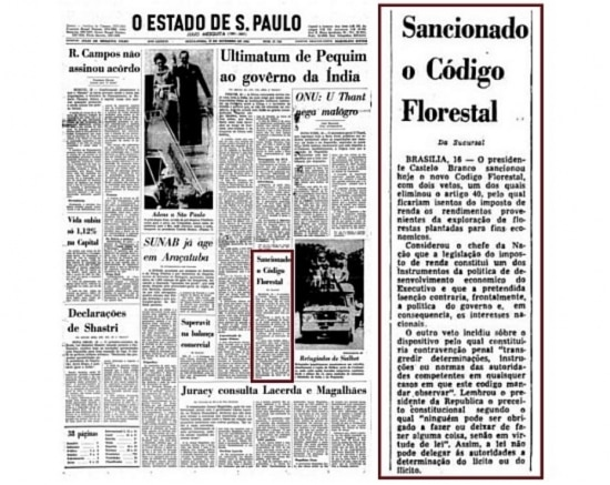 Aprovação do Código Florestal nojornal de 17/9/1965