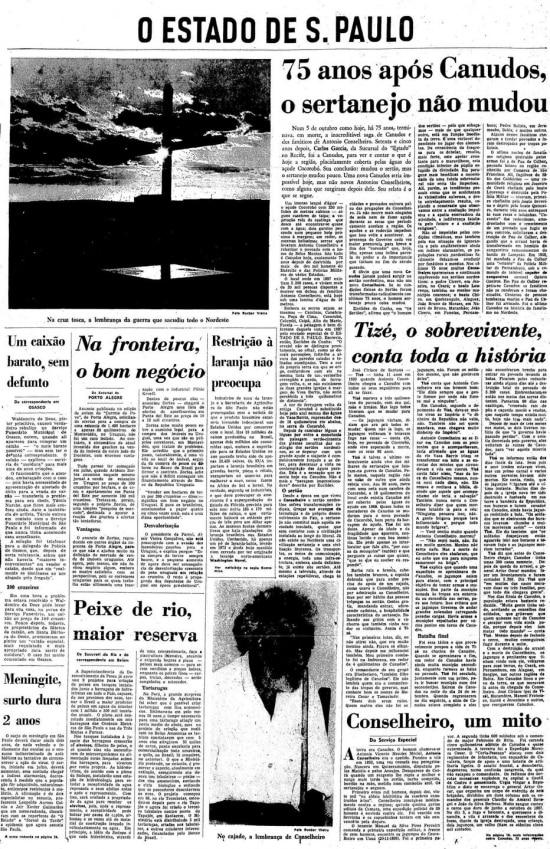 Canudos, 75 anos depois, por Carlos Garcia, noEstadão de 5/10/1972