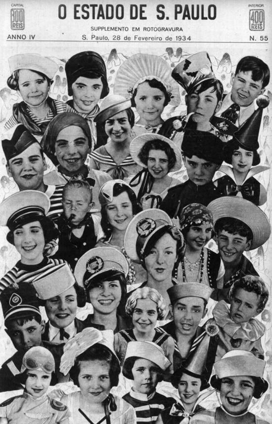Carnaval de 1934 na capa do Suplemento em Rotogravura.