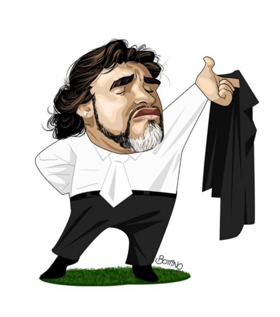 Maradona em ilustração de Bottino na Copa de 2010