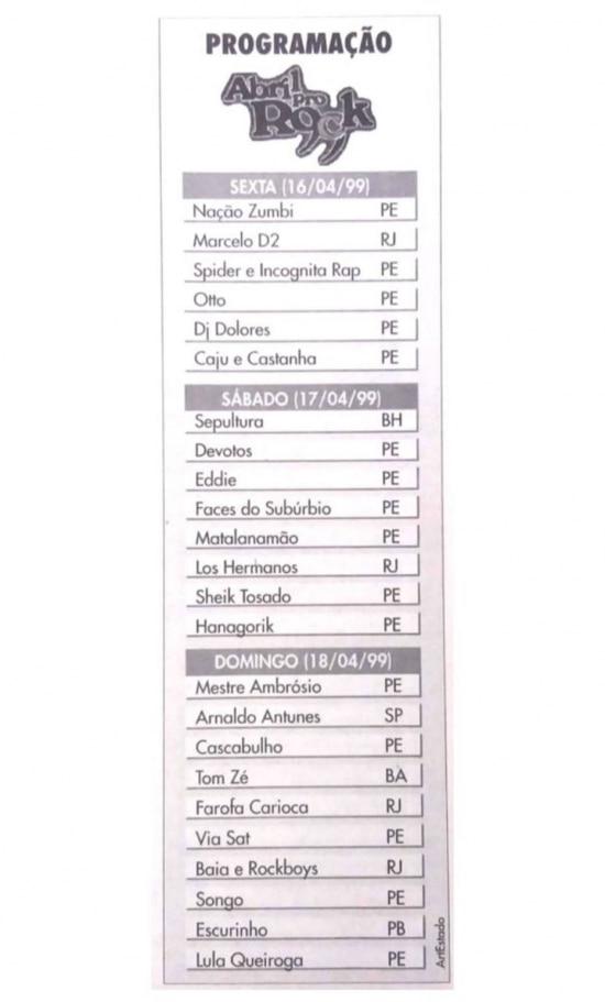 Los Hermanos na lista de atrações doAbril ProRockde 1999.