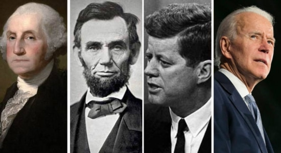O primeiro presidente dos EUA, George Washington (independente), o republicano Abraham Lincoln e os democratas John Kennedy e Joe Biden
