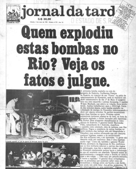 Capa do Jornal da Tarde de 02/5/1981