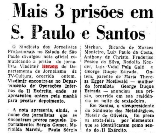 Notícia daprisão de Vladimir Herzogno jornal de 26/10/1975