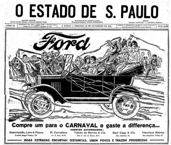 Capa de O Estado de S.Paulo de22/02/1925