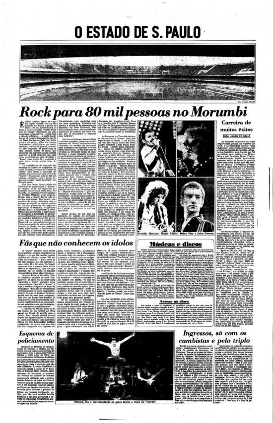 Página sobreshow do Queenno Brasilem março de 1981
