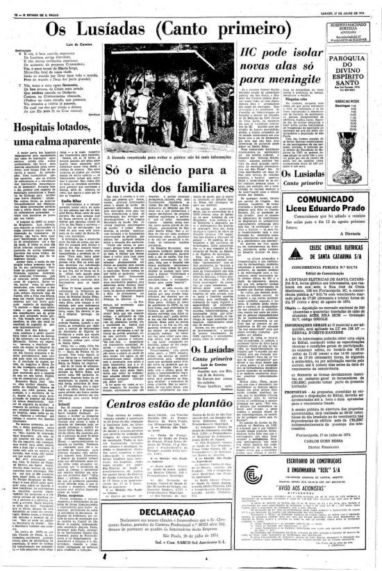 Página censuradade 27/7/1974