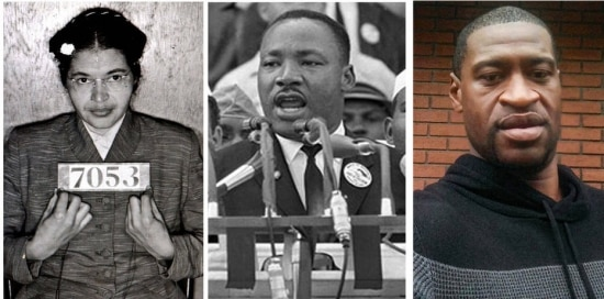 Rosa Parks, Martin Luther King e George Floyd