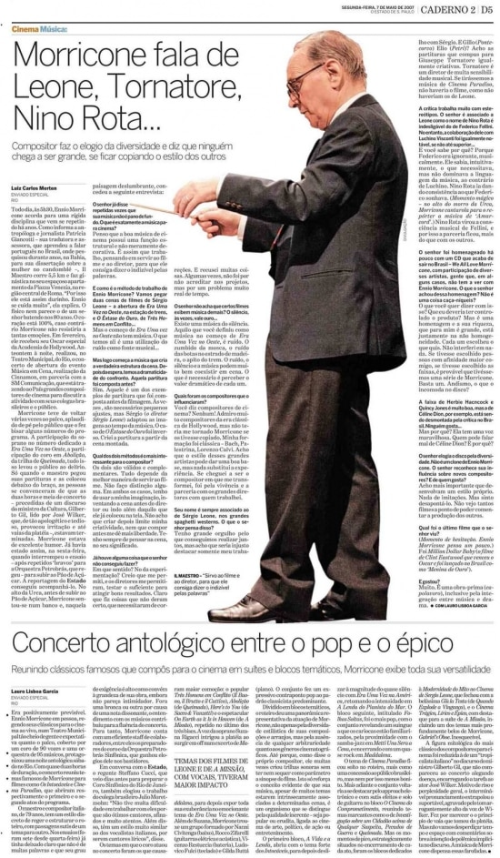 Entrevista de Ennio Morriconeem 7/5/2007