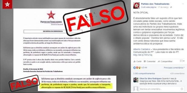 PT convoca militantes e promete remuneração para ato em defesa de Dilma e Lula