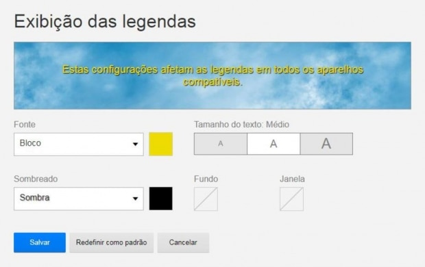 Personalize as legendas