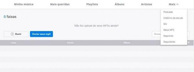 Adicione seus MP3 ao serviço