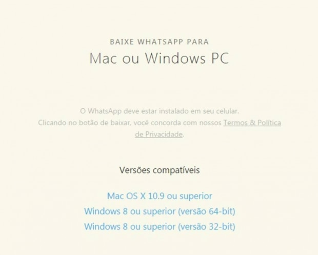 Whatsapp no Mac e Windows