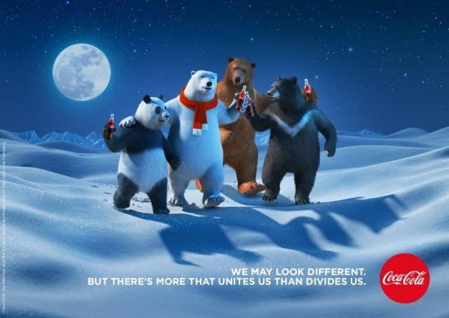 Urso polar da Coca-Cola ganha amigos que retratam diversidade e igualdade.