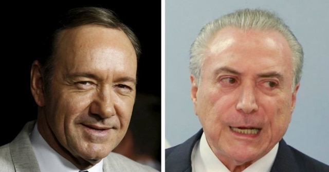 Frank Underwood, personagem de Kevin Spacey em 'House of Cards', e Michel Temer, presidente do Brasil.