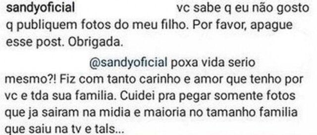 Trecho da publicação e comentários entre Sandy e o fã que publicou fotos de Theo