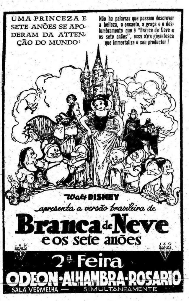 Cartaz da estreia do filmeBranca de Neve no Brasilem 1938
