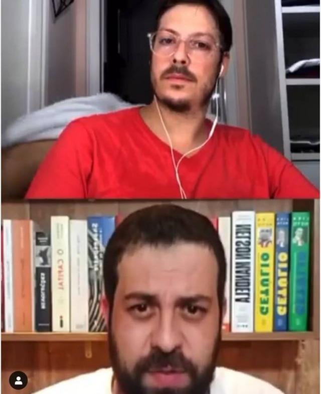 O apresentador e humorista Fábio Porchat realizava uma live na noite desta sexta-feira, 3, com Guilherme Boulos, quando foi surpreendido por sua esposa Nataly Mega seminua passando por trás da câmera.