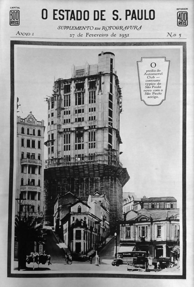 Prédio do Automóvel Club, em fevereiro de 1931.