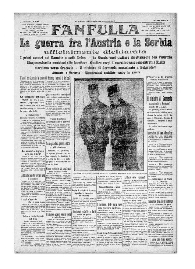 Anúncio da primeira Guerra Mundial em 29/71914