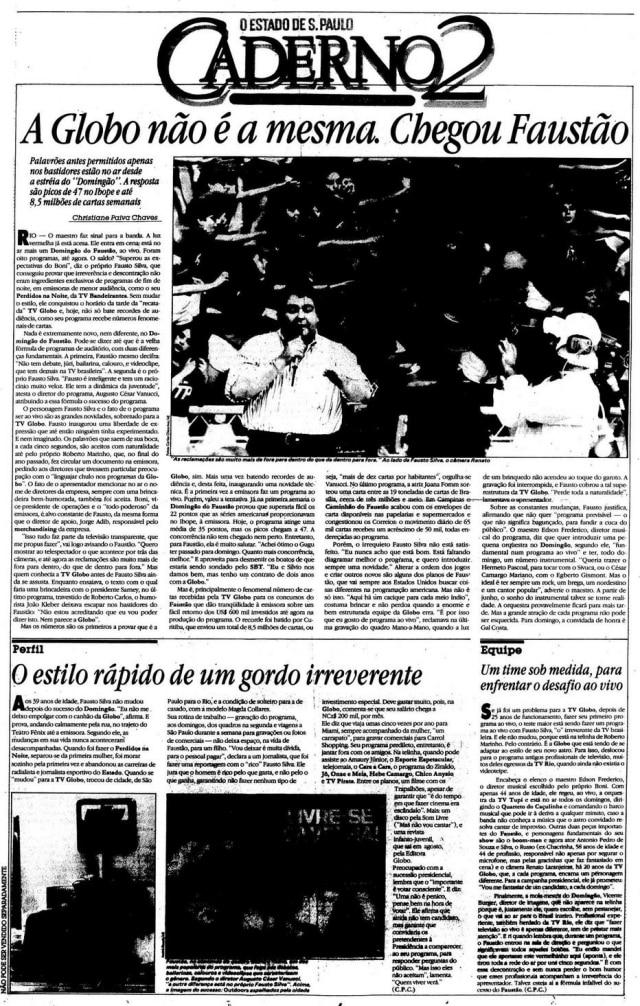 """""""A Globo não é a mesma. Chegou Faustão"""" nojornal de 18/5/1989"""