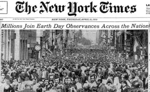 Reprodução da capa do The New York Times de 23/4/1970Veja maisaqui