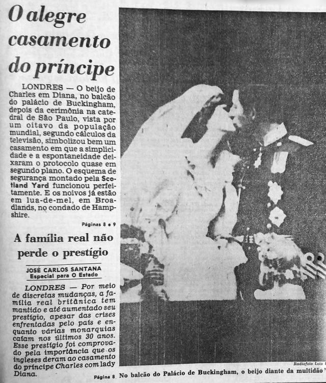 Casamento do príncipe Charles e Diana é manchete doEstadão de 30/7/1981