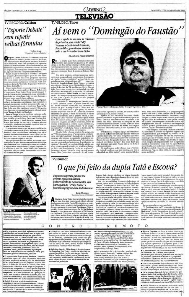 Reportagem sobreFaustão na Globoem 27/11/1988