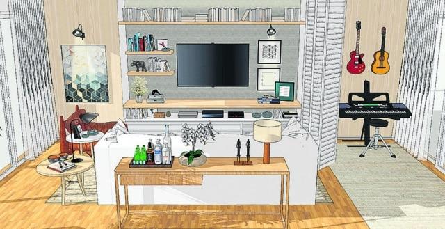 Detalhe da sala que foi dividida por portas camarão brancas. De um lado fica sofá e TV, do outro, o espaço exclusivo para as atividades musicais