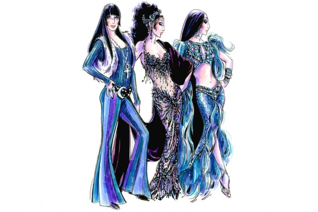 Osfigurinos de Bob Mackie para o musical 'The Cher Show', que celebra a trajetória da cantora