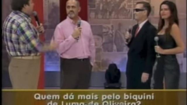Faustão, Oscar Maroni, Eike Batista e Luma Oliveira em um programa de 2001