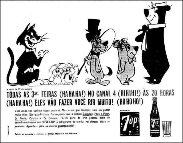 Chuvisco, Plick e Plock, D. Pixote, Catatau e Zé Colméia, anúncio dedesenhos animadosno Estadão de 15/10/1961