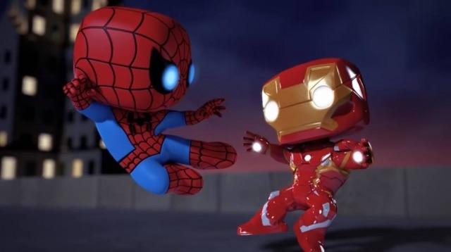 Animação com bonecosFunko Pop! da Marvel