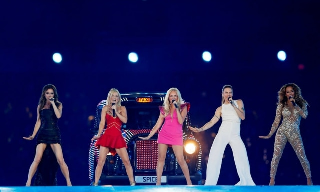 O grupo Spice Girls, na cerimônia de encerramento dos Jogos Olímpicos de Londres, em 2012