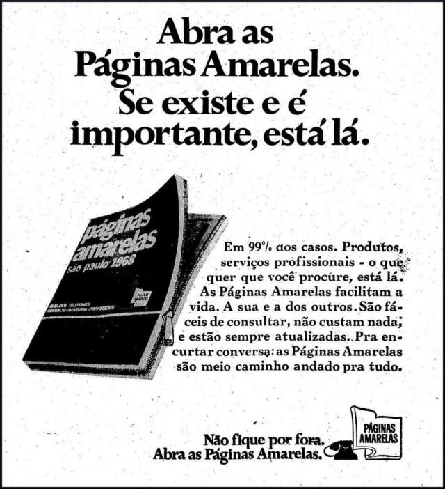 Anúncio dalistatelefônica Páginas Amarelas, no Estadão de 07/8/1968