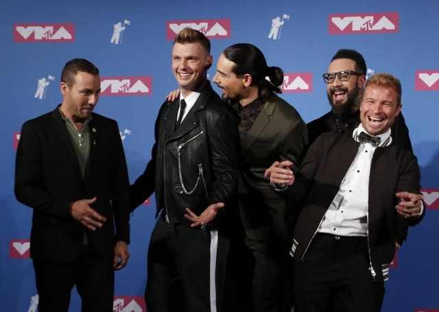 Howie Dorough, Nick Carter, Brian Littrell, AJ McLean e Kevin Richardson, os Backstreet Boys, em agosto de 2018.