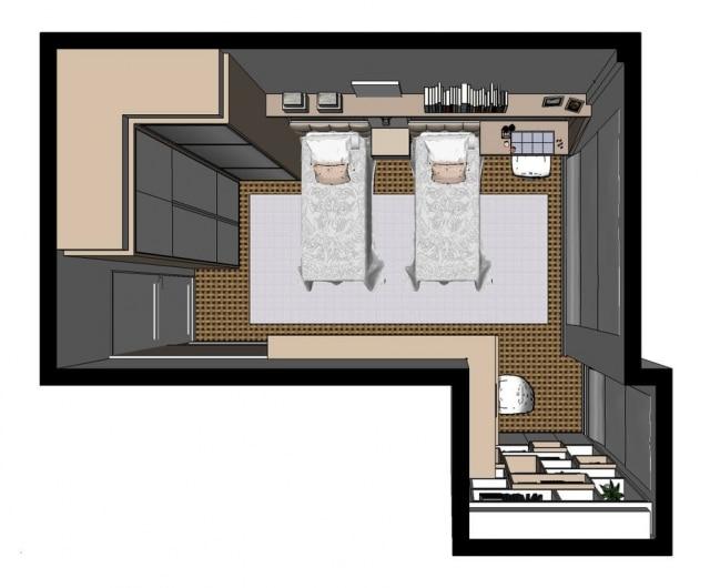 A planta do quarto proposto por Jóia Bergamo