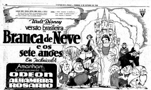 Cartaz da estreia do filmeBranca de Neve no Brasil